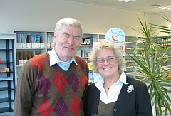 Professor Sigitas Dumcius with Rosie Barnes, Chief Executive, CF Trust