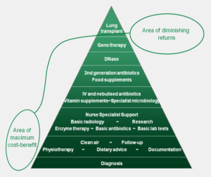 Pyramid describing cost-benefit of available cystic fibrosis treatments
